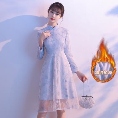 亿族 旗袍女秋冬新款改良版连衣裙中长款气质年轻少女加绒长袖中裙
