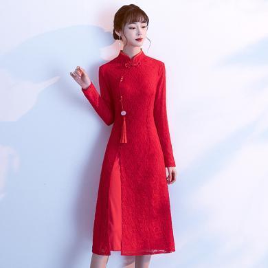 億族 旗袍式連衣裙女秋冬新款氣質優雅長袖蕾絲改良版中國風裙子