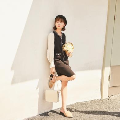 BANANA BABY2019冬季新款优雅圆领格子小香风西装连衣裙女浪漫裙子D294LY936
