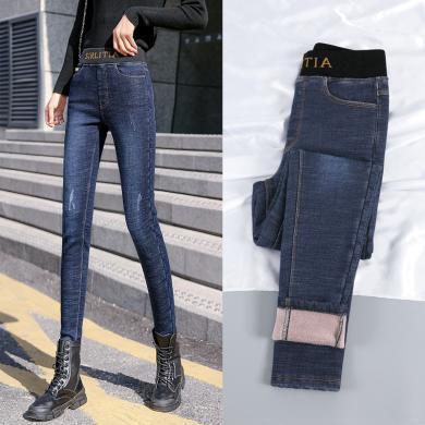 百依戀歌 秋冬女裝新款加絨黃標牛仔褲 QT10057
