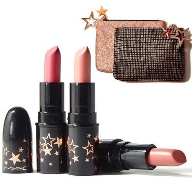 【支持購物卡】美國 魅可 MAC 圣誕限量口紅唇釉圣誕禮物彩妝限定套裝圣誕迷你3支裝送星運手袋包 3*1.7g