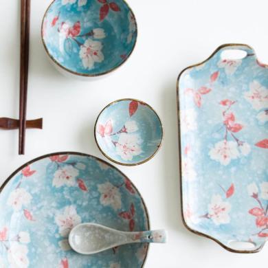摩登主婦創意日式玉蘭花手繪陶瓷餐具米飯碗湯碗面碗家用菜盤魚盤
