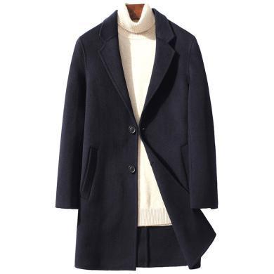 姝奕秋冬新款雙面羊毛呢中年男士加厚保暖商務純色羊毛外套YT-SJZ88308