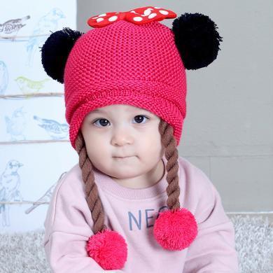 ocsco 嬰幼兒帽子冬季新款女童保暖護耳帽女寶寶針織帽假辮子毛線帽