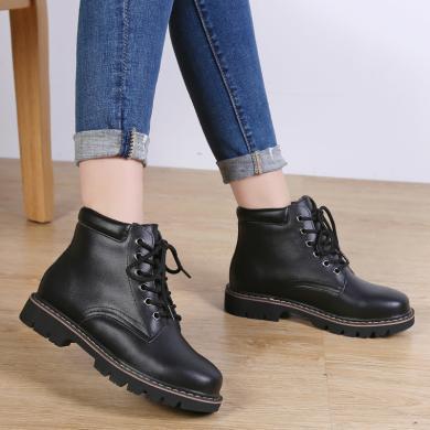 西瑞新款加絨可選短靴時尚保暖馬丁靴學院風女靴MN998