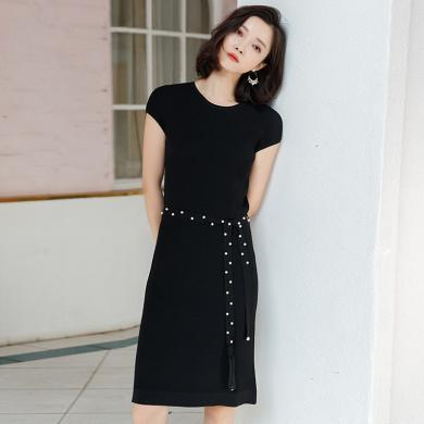 meyou 优雅气质针织裙子女夏季新款修身显瘦小众连衣裙