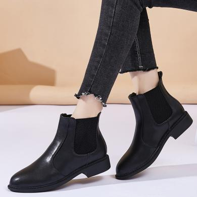 MIJIins短靴女平底馬丁靴英倫風女鞋加絨粗跟短筒切爾西女靴NX-9733
