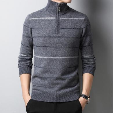 花花公子貴賓 秋冬新款青年純羊毛衫高領拉鏈套頭毛衣男士加厚針織打底衫