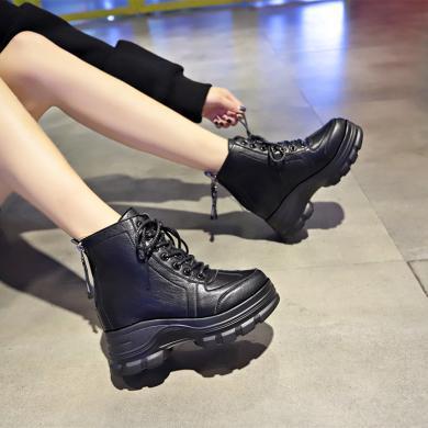 MIJI马丁靴女英伦风后跟双拉链时尚潮流内增高系带网红女短靴NX-7988