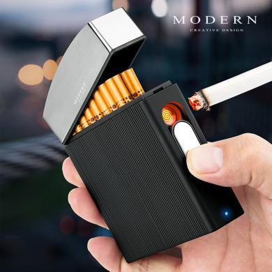 德國MODERN 煙盒打火機一體充電16支20裝便攜超薄香菸盒男士禮物