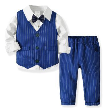 謎子 男童四件套春秋新款童裝長袖襯衫雙層馬甲長褲領結紳士套裝寶寶生日宴會禮服