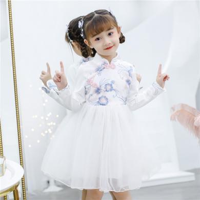 ocsco 女童連衣裙冬季新款童裝加絨刺繡旗袍中大童公主裙兒童演出中式禮服