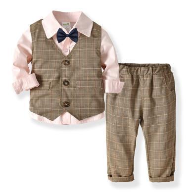 谜子 童装四件套春秋新款男童长袖衬衫双层马甲长裤领结绅士套装宝宝生日宴会礼服