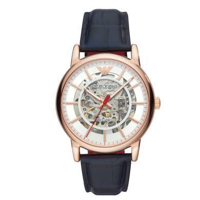 【支持購物卡】意大利阿瑪尼EmporioArmani鏤空機械休閑時尚皮帶手表男表AR60009