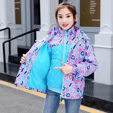 ocsco 女童三合一沖鋒衣冬季新款童裝加絨加厚棉服兒童可拆卸棉外套