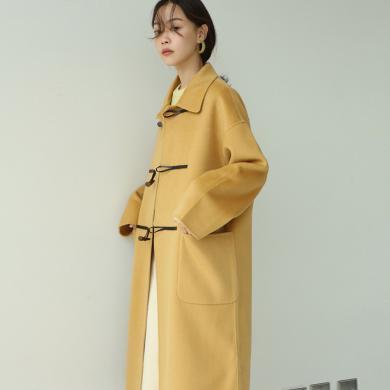 姝奕秋裝新款赫本風牛角扣流行大衣女中長款韓版毛呢子大衣外套女HD-W034