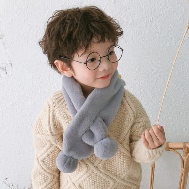 ocsco 秋冬新款兒童圍巾韓系毛絨糖果色男女寶寶可愛百搭保暖圍脖