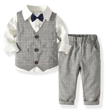 謎子 童裝四件套春秋新款寶寶生日宴會禮服男童長袖襯衫雙層馬甲長褲領結紳士套裝