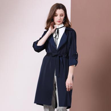 法米姿 秋季新款欧美女装修身系带OL长款过膝风衣外套薄款女 79311