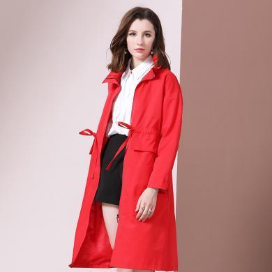 法米姿 秋季新款高端大牌女装红色百搭荷叶领中长款过膝女士风衣外套 79308