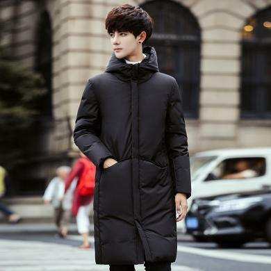 卓狼冬季新款品牌男士羽絨服中長款韓版修身加厚過膝長款外套潮流男裝Y7805yys