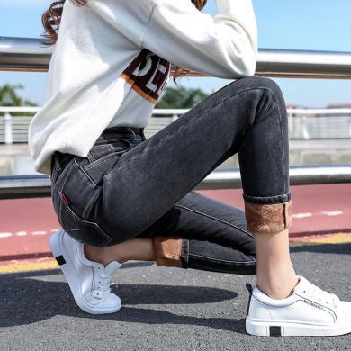 搭歌2019冬季新款高加絨牛仔褲腰緊身小腳褲加厚彈力保暖褲子 B5131