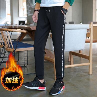 史克维斯冬季男士加绒小脚裤韩版条纹休闲裤加厚潮流哈伦裤K08ysg.JR