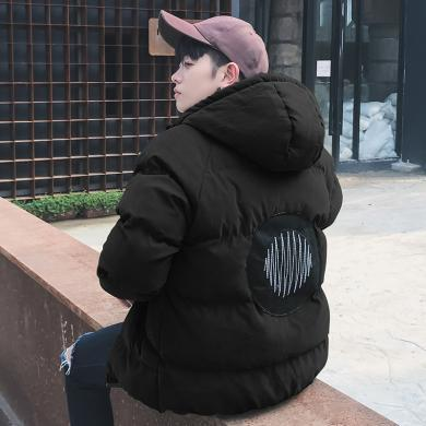 史克維斯冬季男士連帽加厚棉衣男韓版潮個性寬松男短款棉襖外套男青年棉服MH35