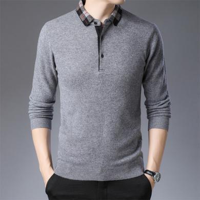花花公子贵宾 冬季羊毛衫男装翻领宽松针织打底衫加厚中年毛衣爸爸套头衫