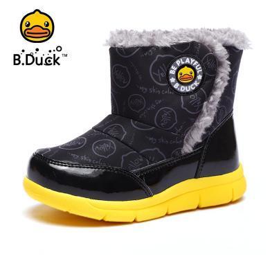 B.Duck小黄鸭儿童雪地靴新款加绒保暖棉靴?#34892;∧信?#31461;高帮靴子B5983054