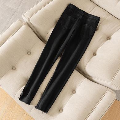 蘇醒的樂園時尚褲子女裝長款新款韓版黑色顯瘦修身搭配下裝自然腰直筒褲SXKl9137