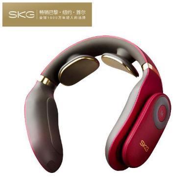 SKG 頸椎按摩器 頸部按摩儀 熱敷護頸儀 充電便攜脖子牽引器尊享禮盒送禮佳品 無線低頻脈沖(尊貴版禮盒)