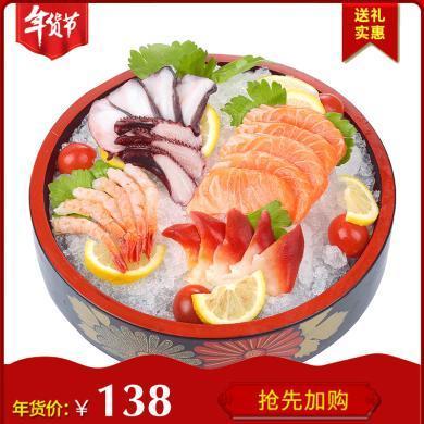 崇鮮 挪威進口冰鮮三文魚刺身拼盤500g盒裝生魚片