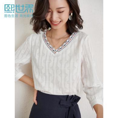 熙世界2020春装新款V领织带刺绣100%纯棉民族风七分袖套头衬衫女