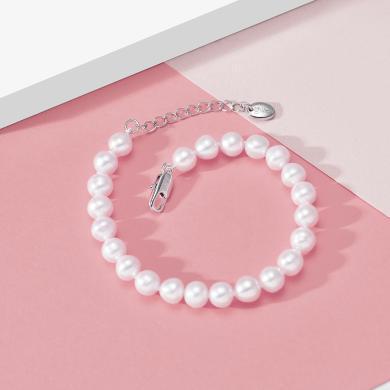 京潤珍珠 傾心 白色淡水珍珠手鏈 強光甄選精品手鏈 迷人優雅