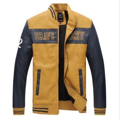 戰地吉圃 春秋新款PU皮衣男裝男士機車拼接皮夾克外套男裝青年外套