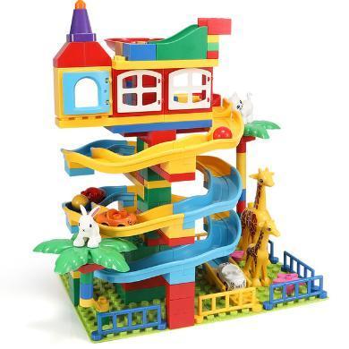 滑道積木3-6周歲兒童大顆粒拼裝益智玩具SM6901