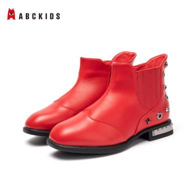 ABCKIDS童鞋 2019秋冬大童女低筒短靴平底鉚釘休閑靴子中小學女鞋