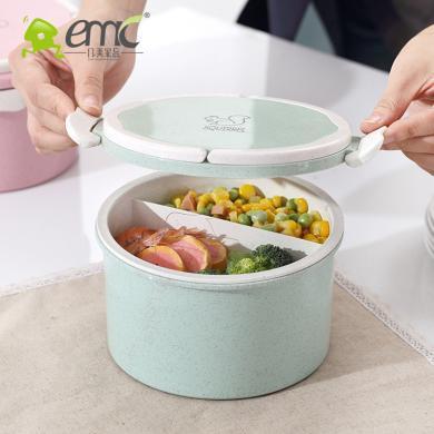 饭盒便当盒学生食堂简约微波炉加热塑料带盖韩国圆形餐盒大泡面碗