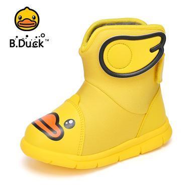 B.Duck小黄鸭童鞋儿童棉靴新款男童冬靴女童加绒靴子雪地棉鞋B5983904
