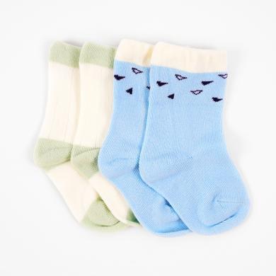 丑丑婴幼  男宝宝可爱保暖撞色宝宝袜(两双装)COG715X