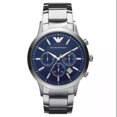 [支持購物卡]EmporioArmani阿瑪尼手表鋼制表帶商務時尚休閑石英男士腕表AR2448-海軍藍色