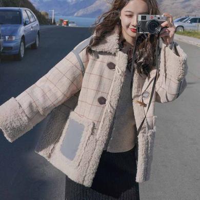 姝奕牛角扣羊羔毛絨外套女加厚新款韓版時尚短款大衣棉服女冬2020新款HD8549