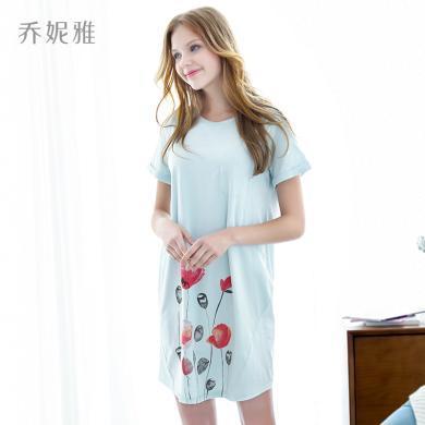喬妮雅月子服夏季薄款純棉短袖孕婦睡衣女家居外出連衣裙產后哺乳喂奶衣