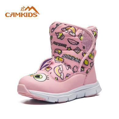 camkids兒童棉鞋靴女童2019冬季新款加絨保暖防滑棉靴子男童冬靴