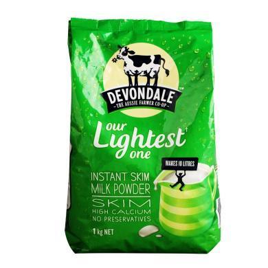 【支持购物卡】澳洲德运Devondale高钙脱脂成人奶粉 营养牛奶1kg/袋 香港直邮