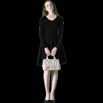 打底智熏裙連衣裙女2019秋裝新款中長款法式桔梗裙復古氣質裙子