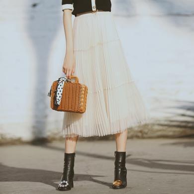 BANANA BABY2020春季新款高腰顯瘦網紗百褶半身裙a字仙女裙中長款D201QZ631
