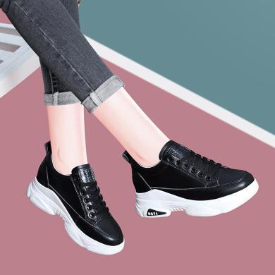 古奇天伦2020春季新款内增高女鞋学生百搭平底松糕鞋厚底高跟鞋小黑鞋9807