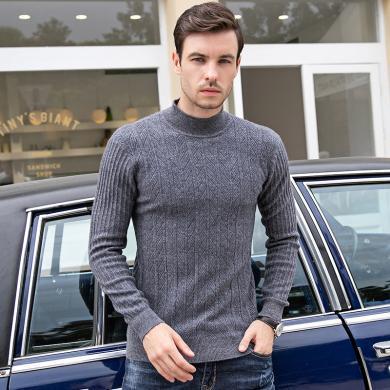姝奕100%羊毛19款秋冬上新毛衣男青年半高领纯色套头羊毛衫纯羊毛毛衣YT-DBSS98071